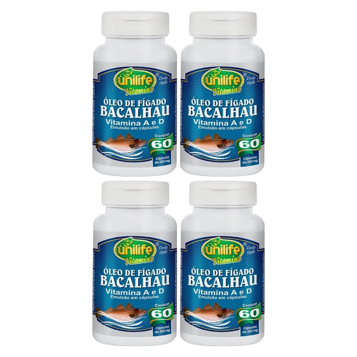 Óleo De Fígado De Bacalhau Com Vitaminas A e D 60 Cápsulas 350mg Unilife Kit 4 Unidades