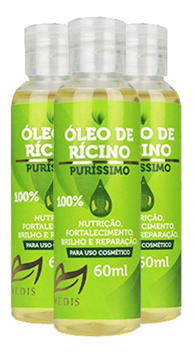 óleo de rícino 100% puro 180ml - vedis queda de cabelo
