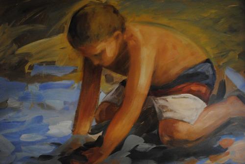 oleo enmarcado, niño en la playa 2