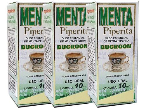 oleo essencial menta piperita 10ml 3 unidades - bugroon