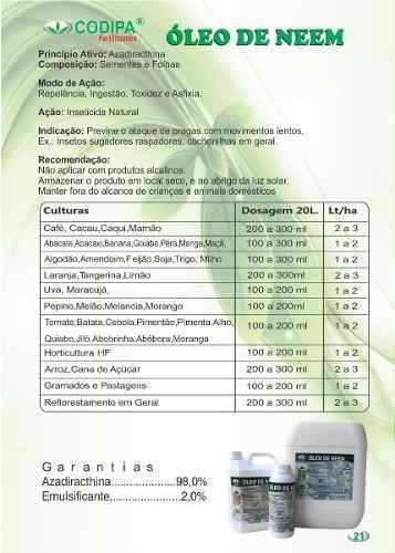 óleo neem nim puro orgânico inseticidas 1 litro + brinde