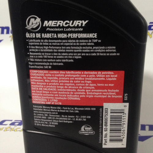 oleo rabeta mercury quicksilver high performance sae90 1l