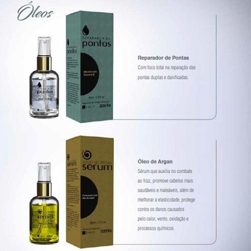 óleo serum argan azenka cosméticos 30ml reparador de pontas