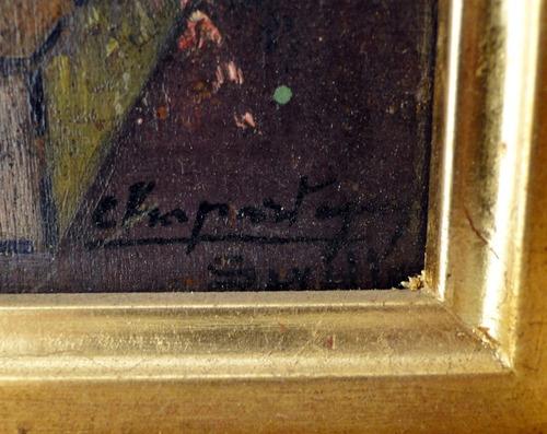 óleo sobre tabla firmado chapostega