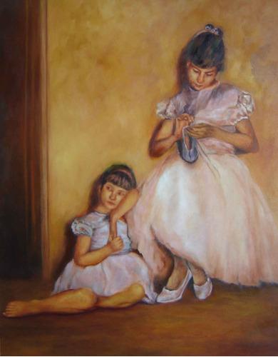 óleo sobre tela -reformando a sapatilha