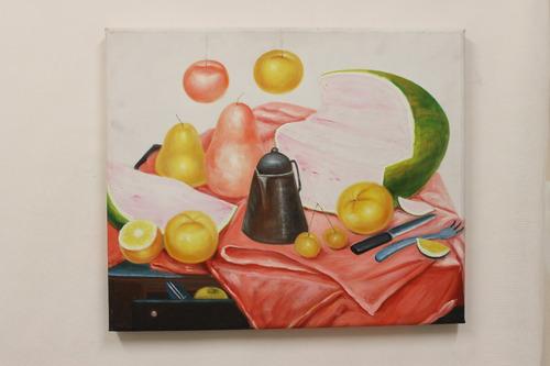 oleo still life with watermelon fernando botero 60 x 50