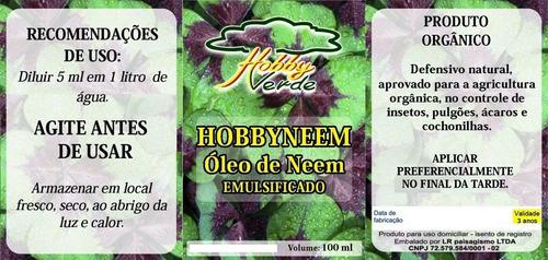 óleo vegetal de neem emulsionável puro - 100 ml (rende 20 l)