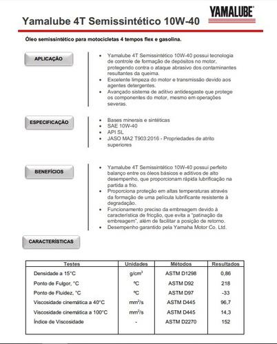 óleo yamalube 4t 10w40 semissintético hexa performance