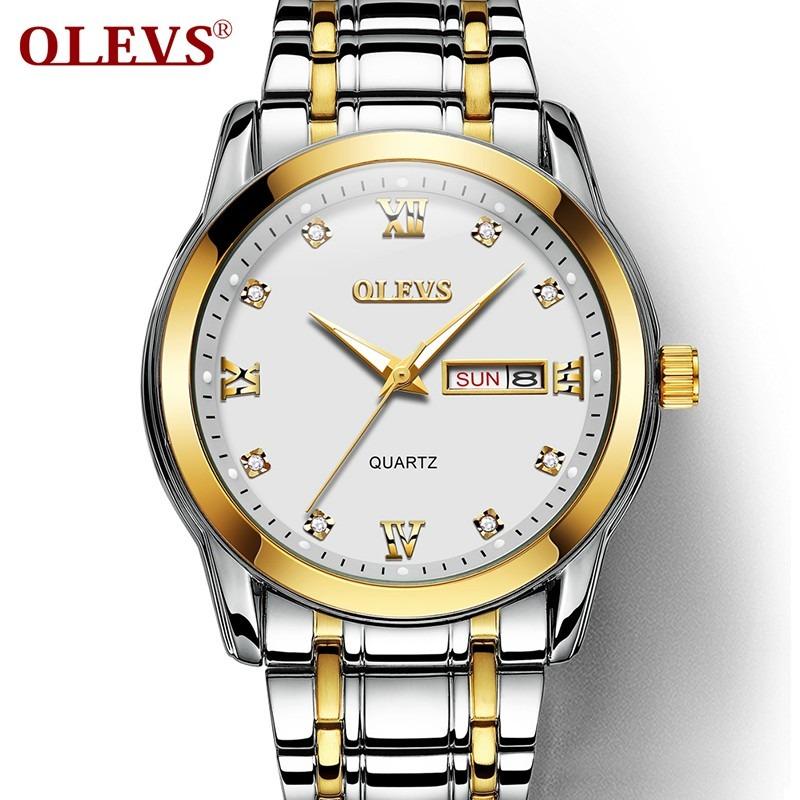 d63cdc201c3b olevs hombres  s negocios oro acero doble calendario reloj. Cargando zoom.