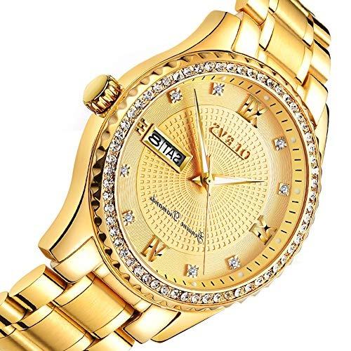 b06fe2893319 Olevs Reloj Dorado Hombre Acero Inoxidable Relojes De Cuarzo ...