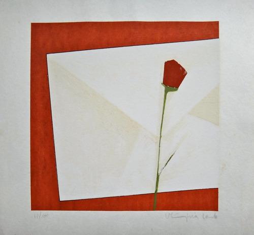olimpia couto - linda serigrafia composição c/ carta e flor
