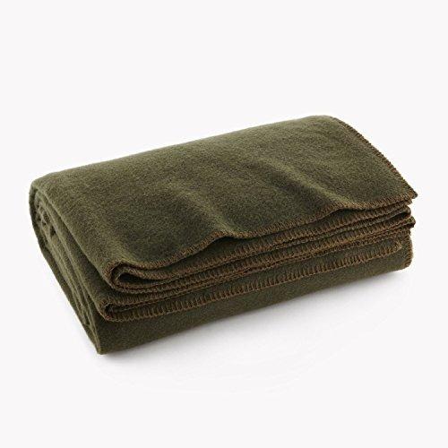 olive drab green warm wool fire retardent blanket, 66-inch x