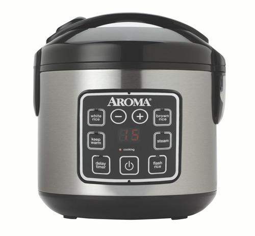 olla arrocera y vaporera de alimentos aroma digital 8 tazas