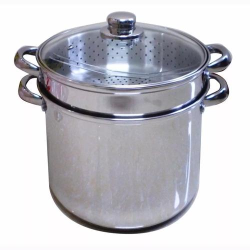 olla pasta pastarella aluminio colador vaporiera new tapa