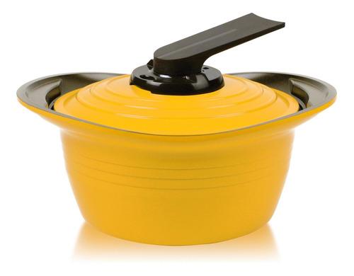 olla roichen con asas de silicona 20 cm amarillo premium