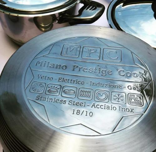 ollas de acero quirurgico + cubiertos milano prestige cook