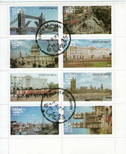 omán bloc x 8 sellos usados 25° aniversario reina elizabeth