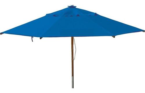 ombrelone 3,00m pvc/madeira sem abas azul royal - botafogo