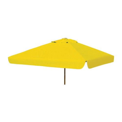ombrelone quadrado - madeira -  1,65m - com abas - amarelo