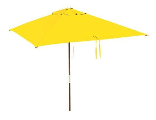 ombrelone quadrado - madeira - 1,65m - sem abas - amarelo