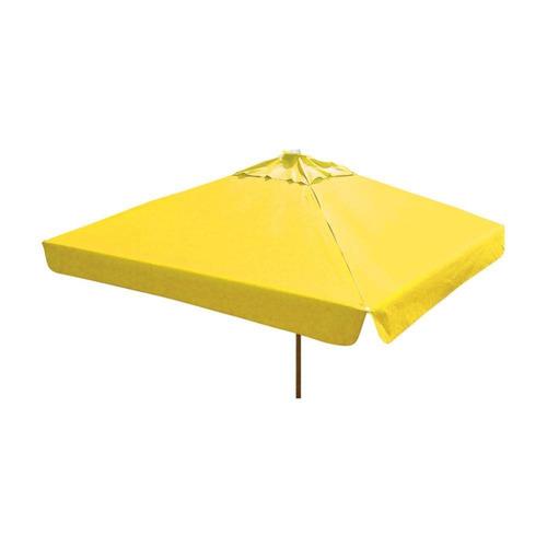 ombrelone quadrado - madeira -  2,10m - com abas - amarelo