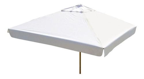 ombrelone quadrado  - madeira - 2,10m - com abas - branco
