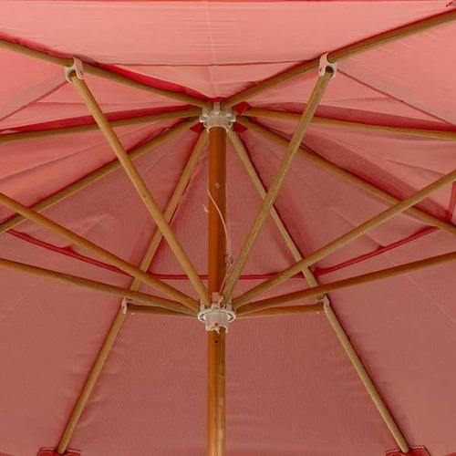 ombrelone redondo madeira 2,40 metros c/ base incluso