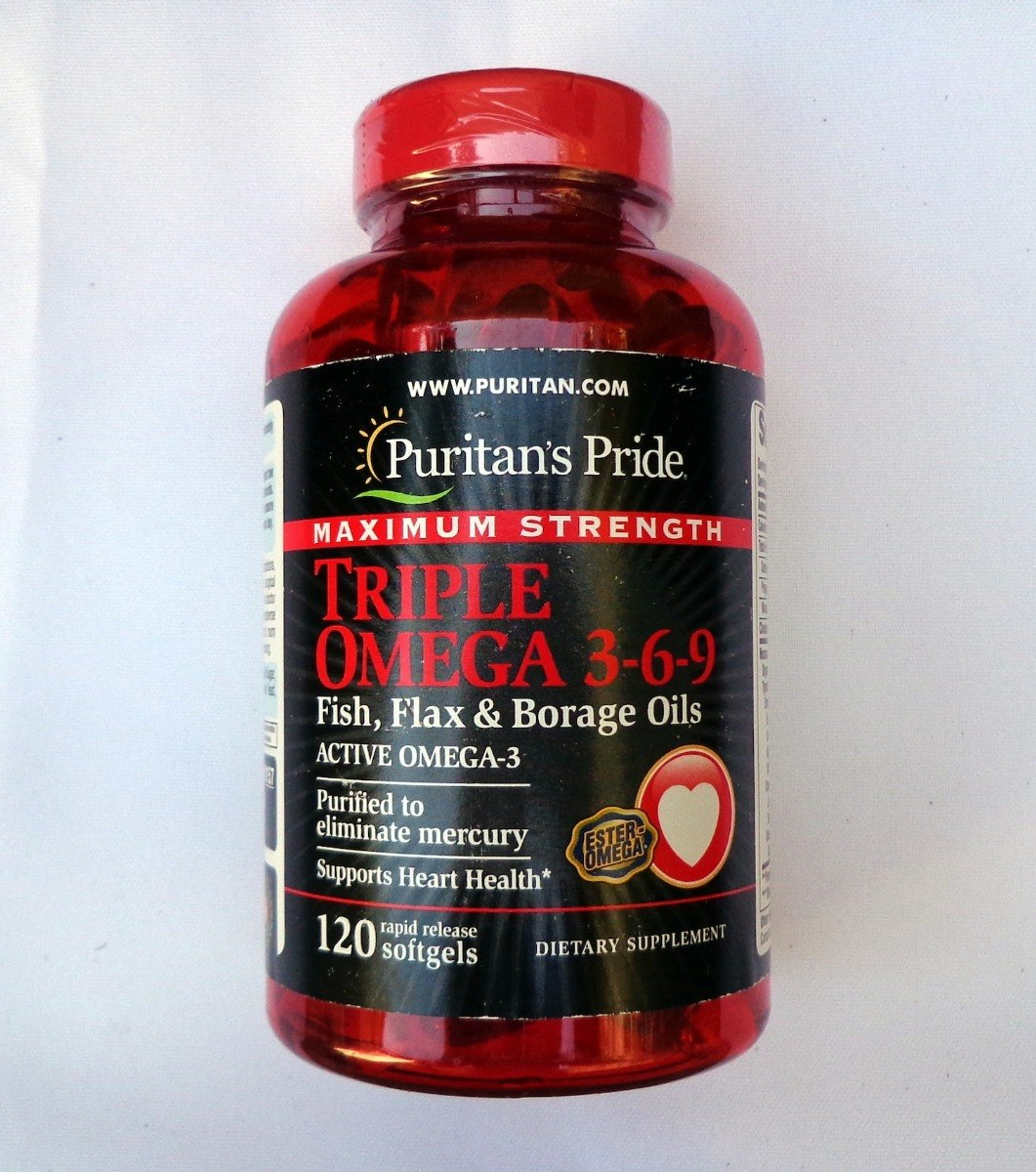 Puritan Pride Maximum Strength Triple Omega 3 6 9 120 Kapsul Tara Q Fish Flax Borage Oils Puritans Softgel Carregando Zoom