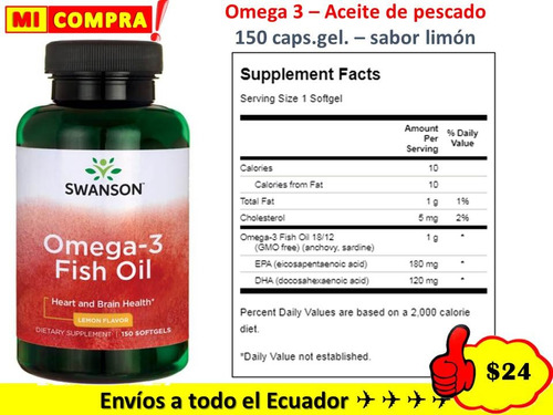 omega 3 epa+ dha 1.300 mg fish oil 150 s.gel envio gratis