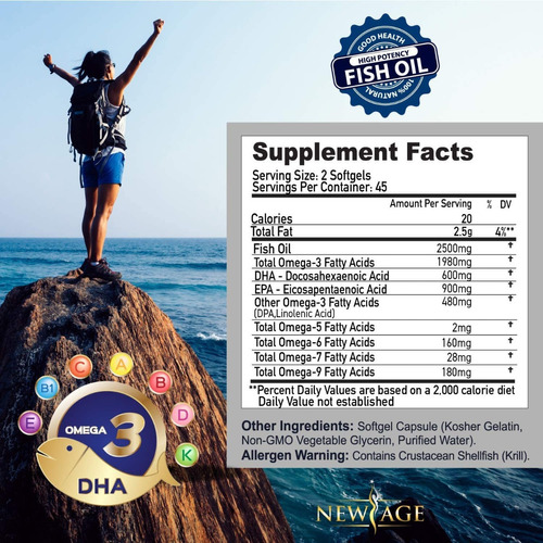 omega 3 (epa-dha) new age - 2500mg  (90 capsulas) importado