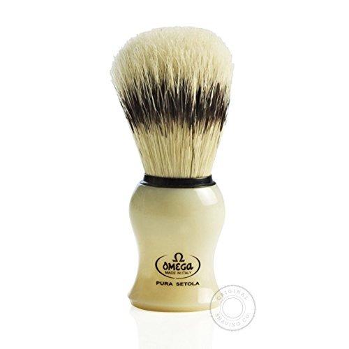 omega brocha de afeitar y soporte pura cerdas 80266