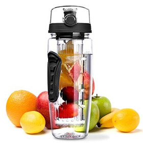Omorc 32 Oz Sport Fruit Infuser Water Bottle, Flip Top Lid &