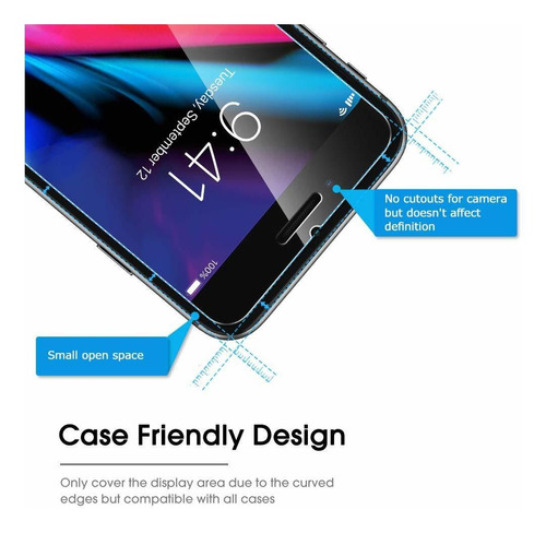 omoton 4-pack protector de pantalla para iphone plus 8/7 plu