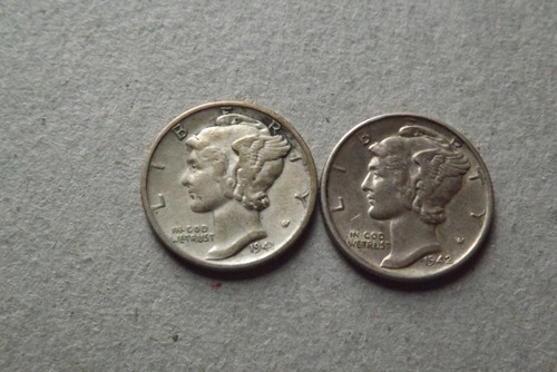 one dime 1941 e 1942 mercury-prata