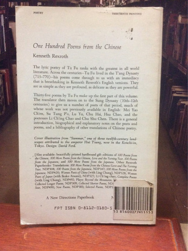 one hundred poems from the chinese - kenneth rexroth.