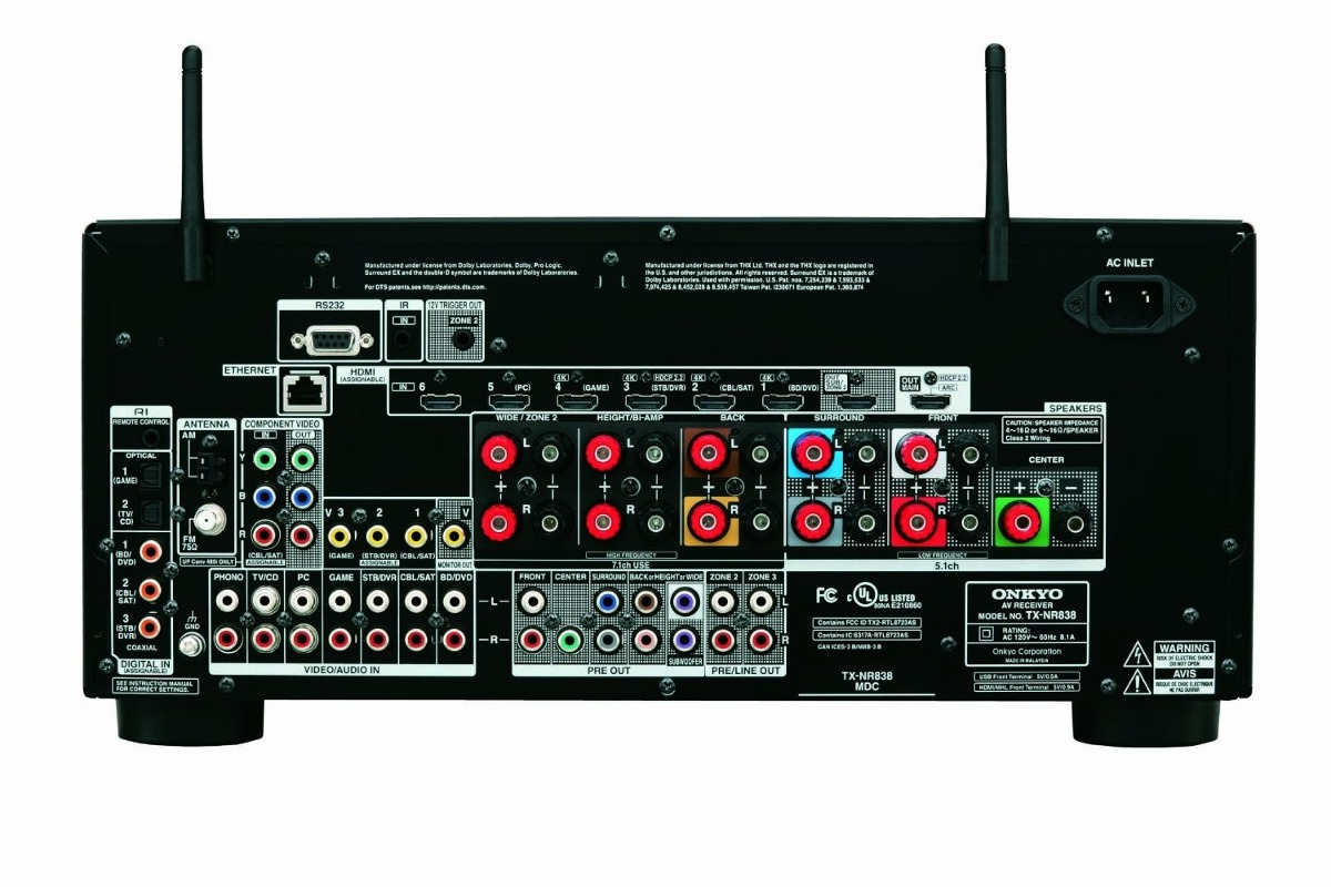 Onkyo tx nr838 7 2 ch dolby atmos ready network av for Onkyo or yamaha receiver