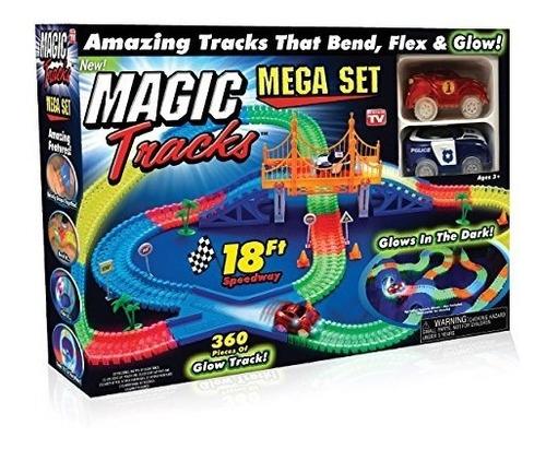 ontel magic tracks mega set con 2 led race car y 18 pies de