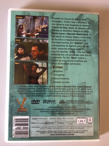 ontem, hoje e amanhã dvd (versátil) loren - mastroianni