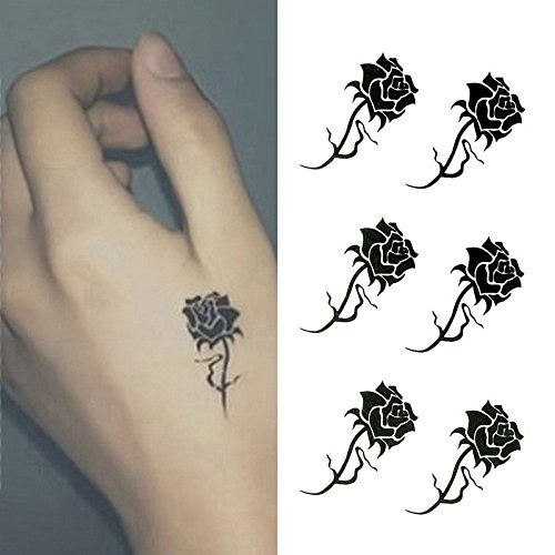 Oottati Small Cute Tattoo Temporal Mano Rosas Negras Juego
