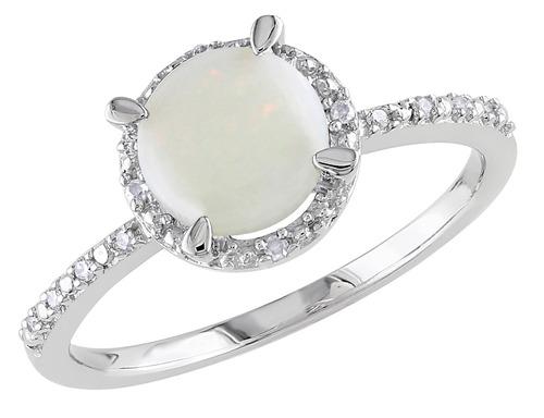 opal 1.0 quilates (ctw) anillo con diamantes en plata de ley