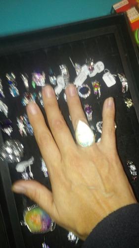 ópalo plata anillo