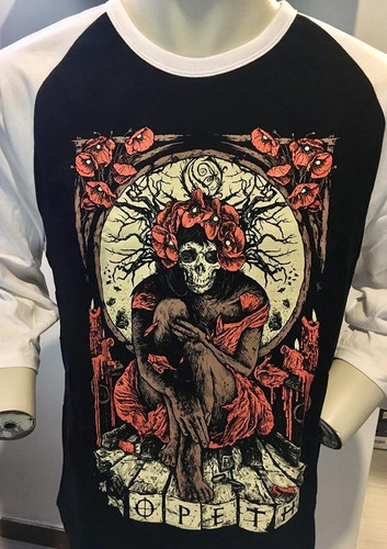 opeth haxprocess long sleeve 3/4 t-shirt l merch official im
