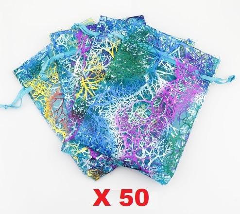 oportunidad! 50 bolsas coral de organza joyas regalo 9x7cms
