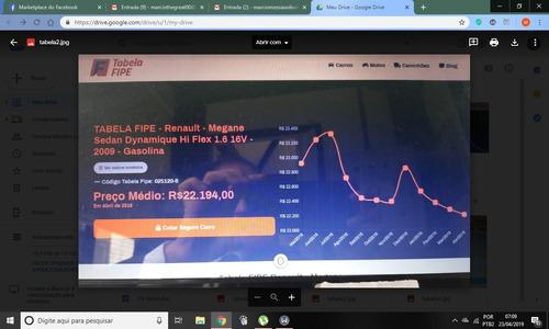 oportunidade! megane dynamique 1.6 16v 09/10 por r$ 16,700