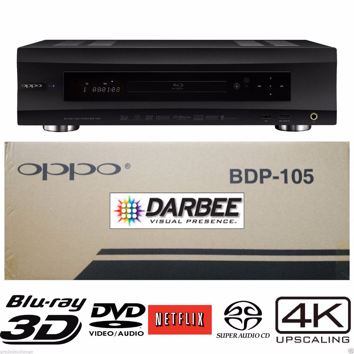 oppo bdp 105d edici n darbee 4k 3d reproductor blu ray   u