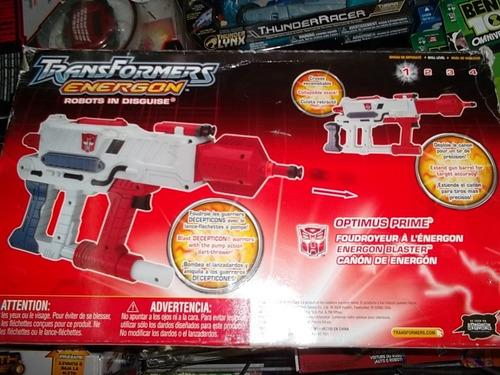 optimus prime cañon de energon transformers lanza dardos