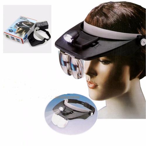 optiviso gafas visera  lupa luz led 4 lentes potentes