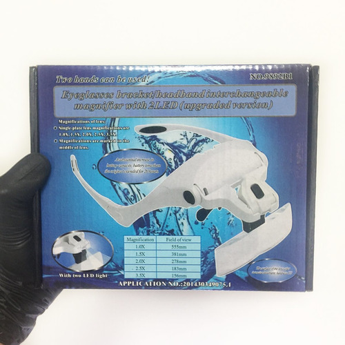 optovisor lentes con aumento y luz led para estética (15v)