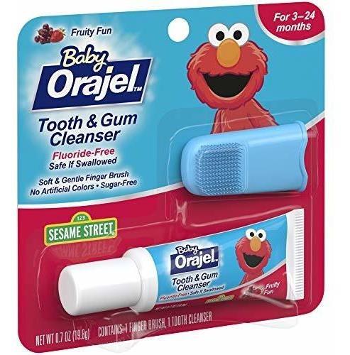 orajel baby elmo tooth and gum cleanser con finger brush fru