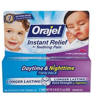 orajel.- gel para el día y la noche para la dentición. 2pack